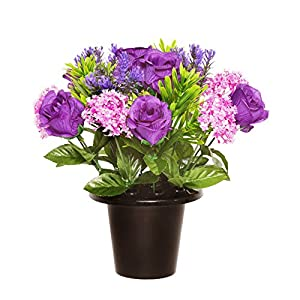 Floristrywarehouse Weighted Grave Pot Purple Open Rose Alliums 88