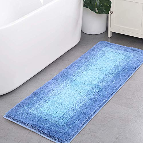 Bath Rug Runner, HAOCOO Banded Ombre Blue Bath Mat Non-Slip Long Door Carpet Soft Luxury Microfiber Machine-Washable Floor Kitchen Rug for Doormats Tub Shower (18x47 inch)