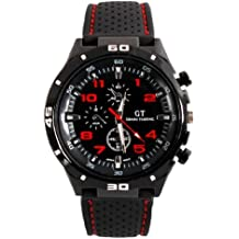 Fanmis GT Racing Sport Watch Military Pilot Aviator Army Style Black Silicone Red Men's Watches