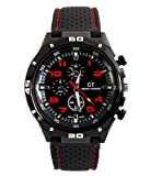 GT Racing Sport Watches Military Pilot Aviator Army Style Black Silicone Red Number Men's Watch