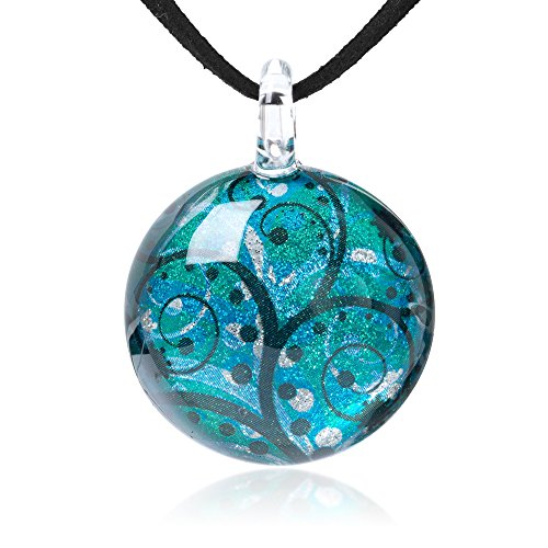 Chuvora Hand Blown Glass Jewelry Green Blue Tree Branch Art Pendant Necklace, 17-19 inches Leather Cord