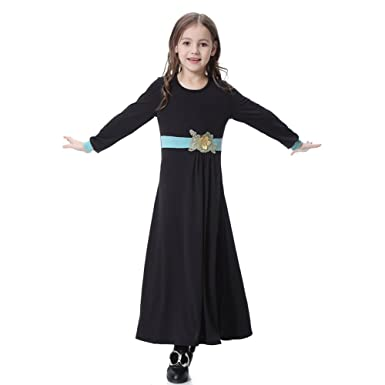 391e48a59 Hougood Muslim Dresses for Girls Kids Abaya Dresses Robe Gown Arab ...