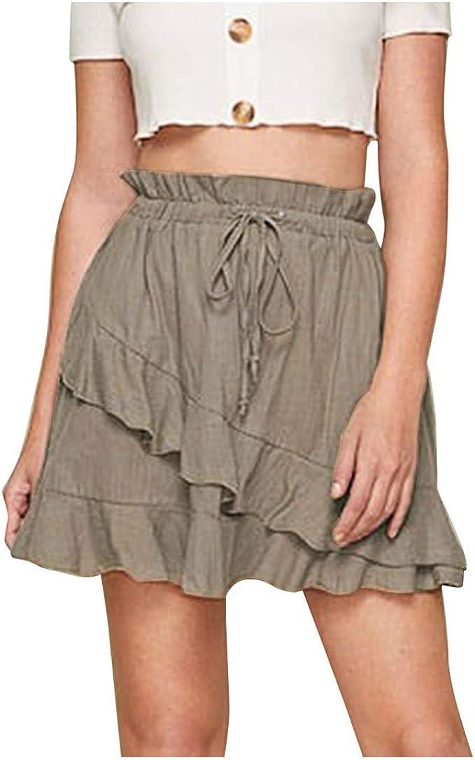 Falda de Las señoras Color sólido con Volantes Volantes Pantalones ...