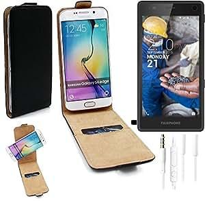 TOP SET: Caso Smartphone para Fairphone Fairphone 2 cubierta del estilo del tirón 360°, negro + Auriculares, cubierta del tirón - K-S-Trade | Funda Universal Caso Monedero cubierta del tirón Monedero Monedero