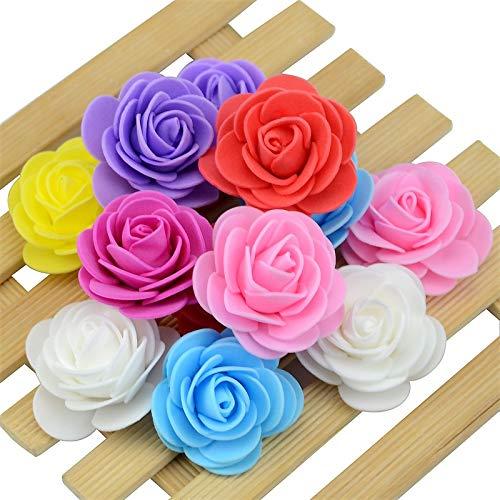 Aosreng 200PCS/Lot 4Cm Thicker PE Foam Rose Handmade Wedding Home Decoration Artificial Flower Head for DIY Flower Ball Party Supplies Mix