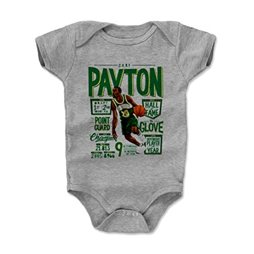 500 LEVEL Gary Payton Seattle Sonics Baby Clothes, Onesie, Creeper, Bodysuit (6-12 Months, Heather Gray) - Gary Payton Position G