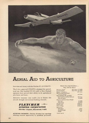 Aerial Aid Agriculture Fletcher FU-24 Utility ad 1955 from The Jumping Frog