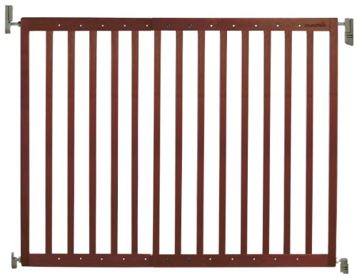Munchkin Extending Wood Wide Baby Gate, Dark Wood (Munchkin Gate With Door Baby)