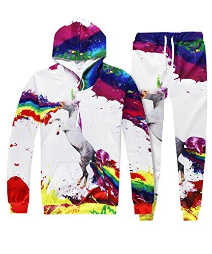 Unisex 3D Animal Digital Printed Drawstring Hoodie Sweatshirt Sweatpants (Animals Womens Sweatpants)