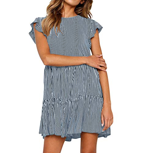 New in Fashion Dress Haalife◕‿Women's Sexy Deep V Neck Short Sleeve Striped Wrap Ruffle Navy
