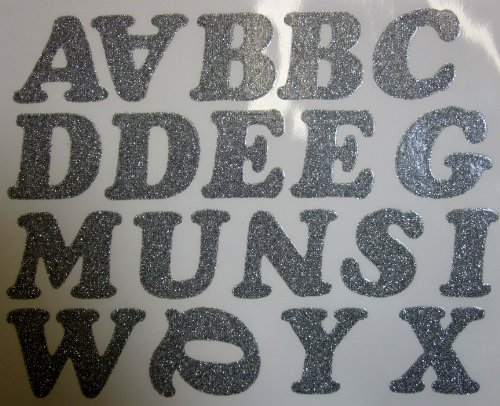 DIY 2-Inch Iron-On Letters in Silver Glitter