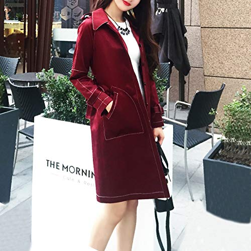 Women'S Coats Stylish Relaxd amp; Coats Red Wine Temperament SCOATWWH Wine Jacket Jackets nbsp;Female red Long Windbreaker zRXvaqB