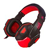 Everyone Love Earphones,Surround Dragon Pattern Stereo Gaming Headset Headband Headphone USB 3.5mm Colorful LED Light Designed with Mic for PC (Red)