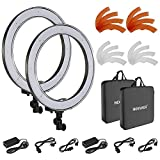 Neewer 2 Packs 18-inch Outer Dimmable SMD LED Ring Light 5500K Lighting Kit with Color Filters and Universal Adapter with US/EU Plug for Photo Studio YouTube Video Shooting