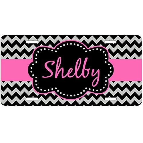 Simply Customized Personalized License Plate Monogram Black Chevron Pink License Plate Car Auto Tag Aluminum PLP