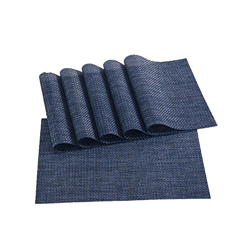 Sunshine Fashion Inc Placemats,Placemats for Dining Table,Set of 6 Heat Resistant Placemats, Washable PVC Table Mats,Kitchen Table mats(1:Navy)