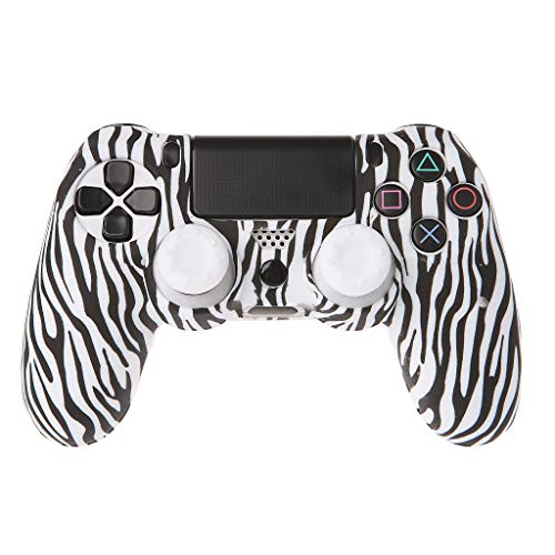 Cover Silicone Zebra Case - Sixsons Anti-Slip Gamepad Skin Silicone Protective Cover with Joystick Caps for PS4 Controller Zebra Stripe Skin Cover Gamepad Case for Playstation 4 PS4 Slim Cover