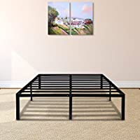 PrimaSleep 14 Inch Tall Simple & Sturdy Round Edge Steel Slat Metal Bed Frame/ Non Slip/ Ample Storage Space, Queen