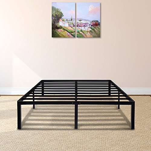 PrimaSleep 14 Inch Tall Simple & Sturdy Round Edge Steel Slat Metal Bed Frame/Non Slip/Ample Storage Space, Queen by PrimaSleep