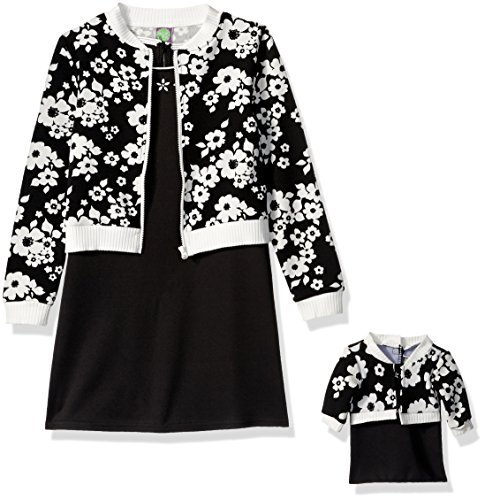 Dollie & Me Big Girls' a-Line Dress and Floral Bomber with Matching Doll Outfit, Black/White, 12 -