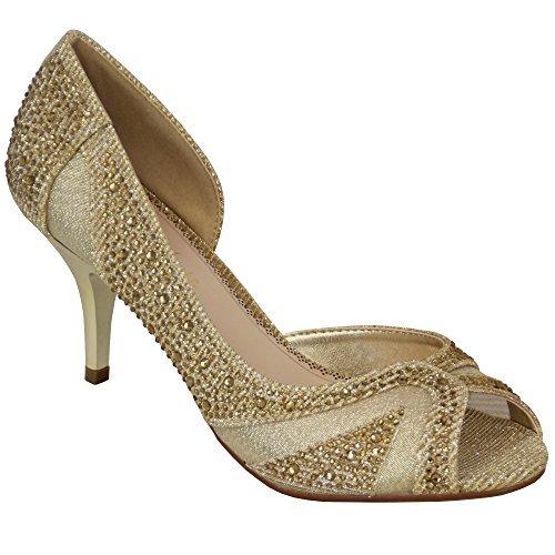 Sandal House Damen Sandalen Damen Glitzersteine Mittelhoch Brautjungfer ohne Bügel Hochzeit Braut Ball Gold - sh1413