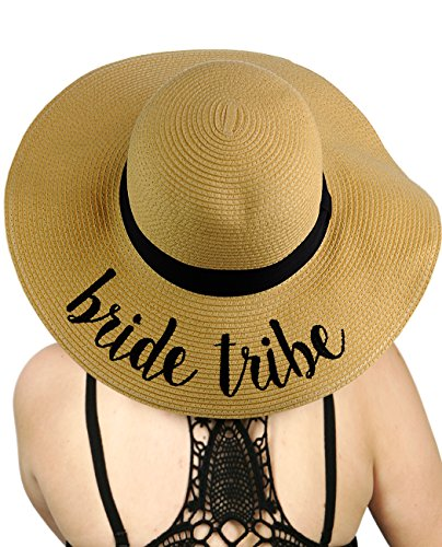 C.C Women's Paper Weaved Crushable Beach Embroidered Quote Floppy Brim Sun Hat, Bride Tribe
