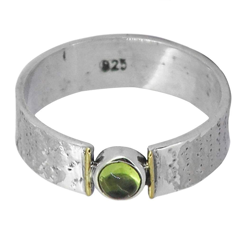 M/s Gajraj Peridot 92.5 Sterling Silver Brass Mixed Mid Ring, 6-12 GAJRNGS0004-P
