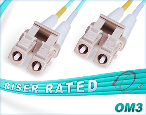 1M OM3 LC LC Fiber Patch Cable | 10Gb Duplex 50/125 LC to LC Multimode Jumper 1 Meter (3.28ft) | Length Options: 0.5M-300M | FiberCablesDirect | Alt: mmf lc-lc dx mm ofnr aqua 10g lc/lc cord Fiber Optic Patch Cord