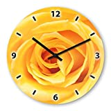 Rose Yellow Wooden Wall Clock Silent Non-ticking Wall Clocks Decorative for Living Room Bedrooms Nursery Clock Children Watch