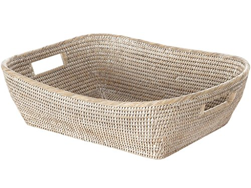 La Jolla Oblong Rattan Storage & Shelf Basket, White Wash