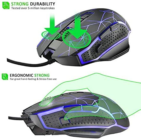 Sala-Deco USB Wired Gaming Mouse 4000DPI 9 Buttons 4 Color LED Backlight Optical Mice
