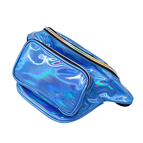 Cutogain Women Girls Waist Pack Holographic Shiny Fanny Pack Fashion Bum Bag for Travel Shopping Blue