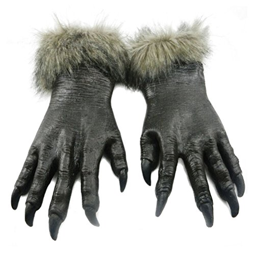 (Odowalker Halloween Werewolf Costume For Women and Men Wolf Claws Gloves and Head Mask Gray Soft Plastic Wolf Men Cosplay)