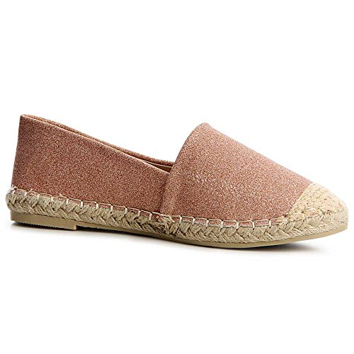 Damen Espadrilles Slipper Loafer Glitzer 1192 Rose Gold