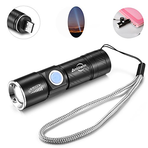 Antowin Mini Flashlight USB Rechargeable Waterproof Adjustable Focus LED Torch For Cycling, Camping, Emergency (350Lumens,300M - Flashlight Mini Usb
