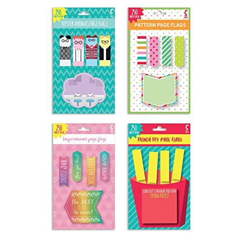 (Assorted 4 Pack Set of Stick On Flags & Sticky Notes Stationary Desk Accessories 200 Sticky Sheets and 800 Flags )