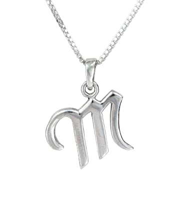 Amazon sterling silver initial charm necklace letter m 16 sterling silver initial charm necklace letter m 16quot aloadofball Images