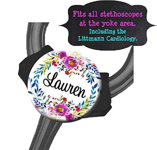 Watercolor Floral Wreath Personalized YOKE Stethoscope ID Tag Nurse Badge