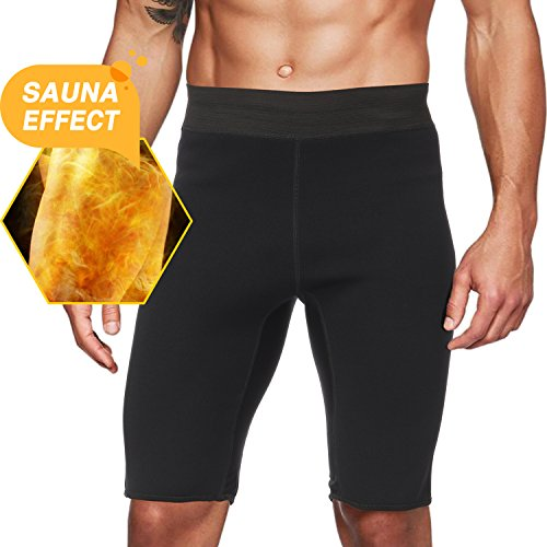 Roseate Men's Hot Sweat Sauna Pants Thermo Slimming Shorts Thigh Shaper for Weight Loss Neoprene Fat Burner M (Short Trimmer)
