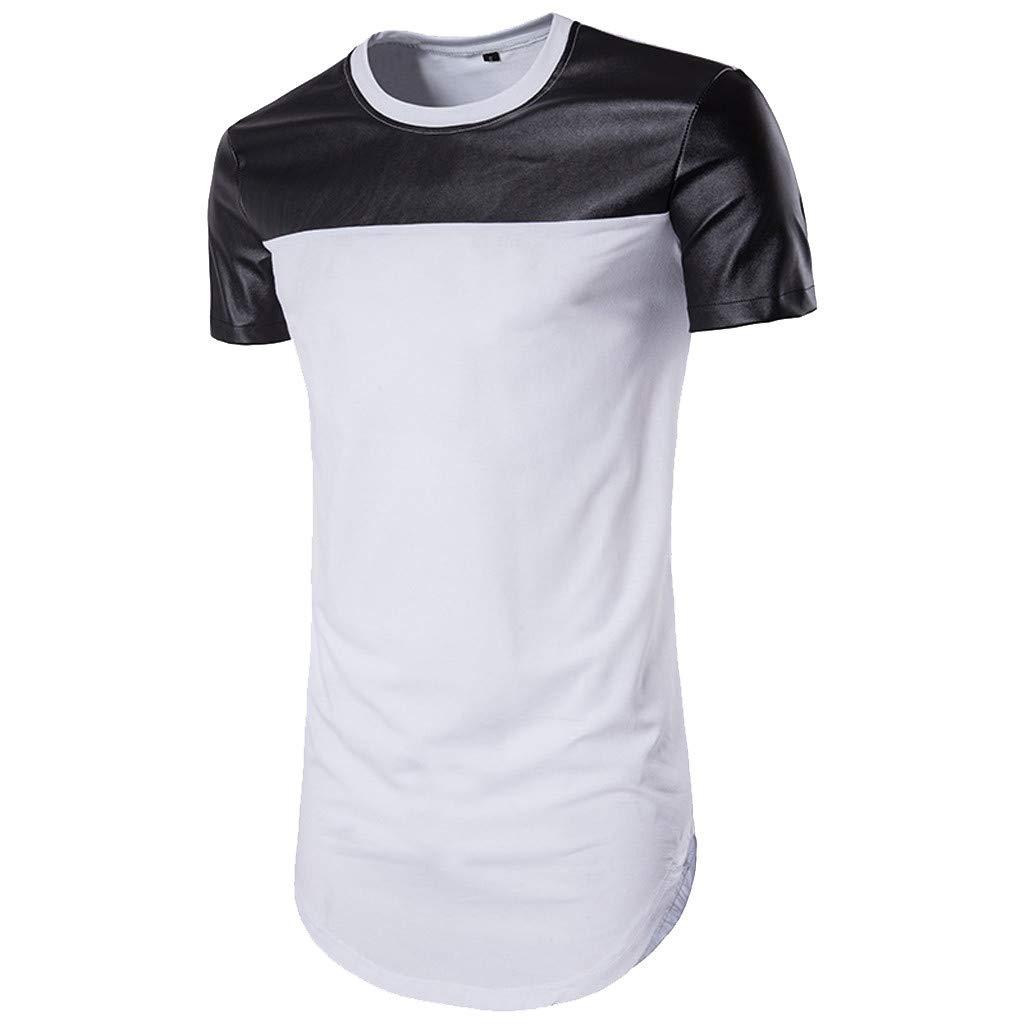 Gibobby Soft Men's Casual Shirts Short Sleeve O-Neck White & Black Patchwork T-Shirts Tunics Tops Blouse