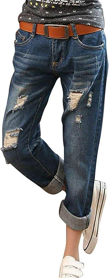 Laisla fashion レディースクロップドルーズフィットボーイフレンドジーンズパンツデニムパンツデストロイパンツファッション2019婦人服