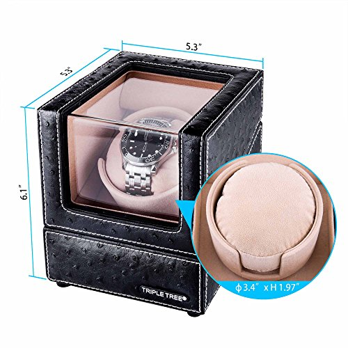 Single-Watch-Winder-With-Flexible-Plush-Pillow-In-Wood-Shell-And-Black-Leather-Japanese-Motor-4-Rotation-Mode-Setting-Fit-Lady-And-Man-Automatic-Watch