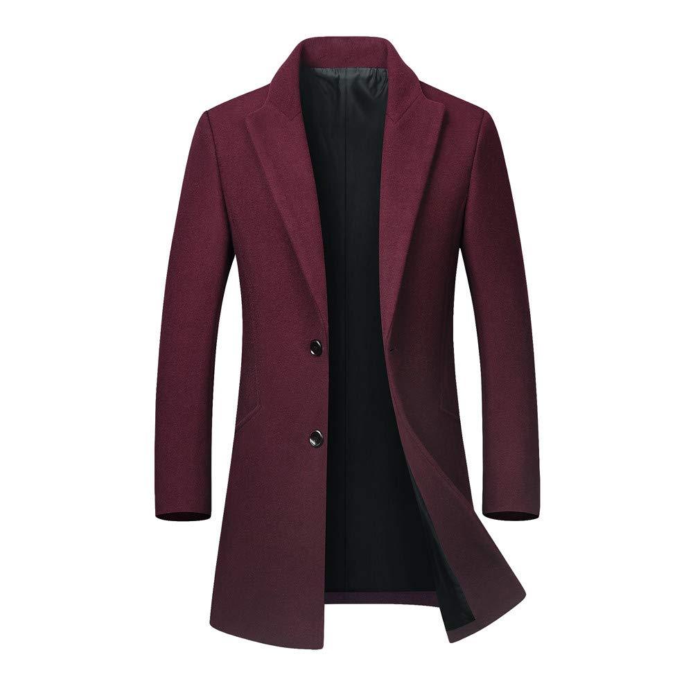FarJing Men's Autumn Winter Casual Lapel Woollen Windbreaker Jacket Coat