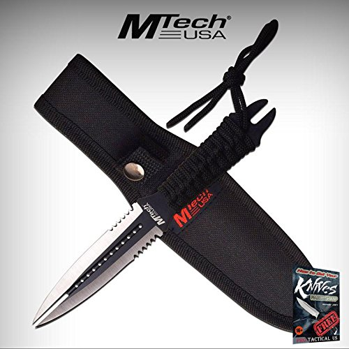 """FIXED-BLADE DAGGER Mtech 8.5"""" Silver Black Double Edge Blade Dual Tip Wasp Elite Knife + free eBook by ProTactical'US"""
