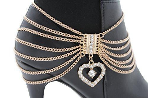 TFJ Women Boot Bracelet Chains Bling Gold Metal Western Fashion Anklet Heart Shoe Love Charm