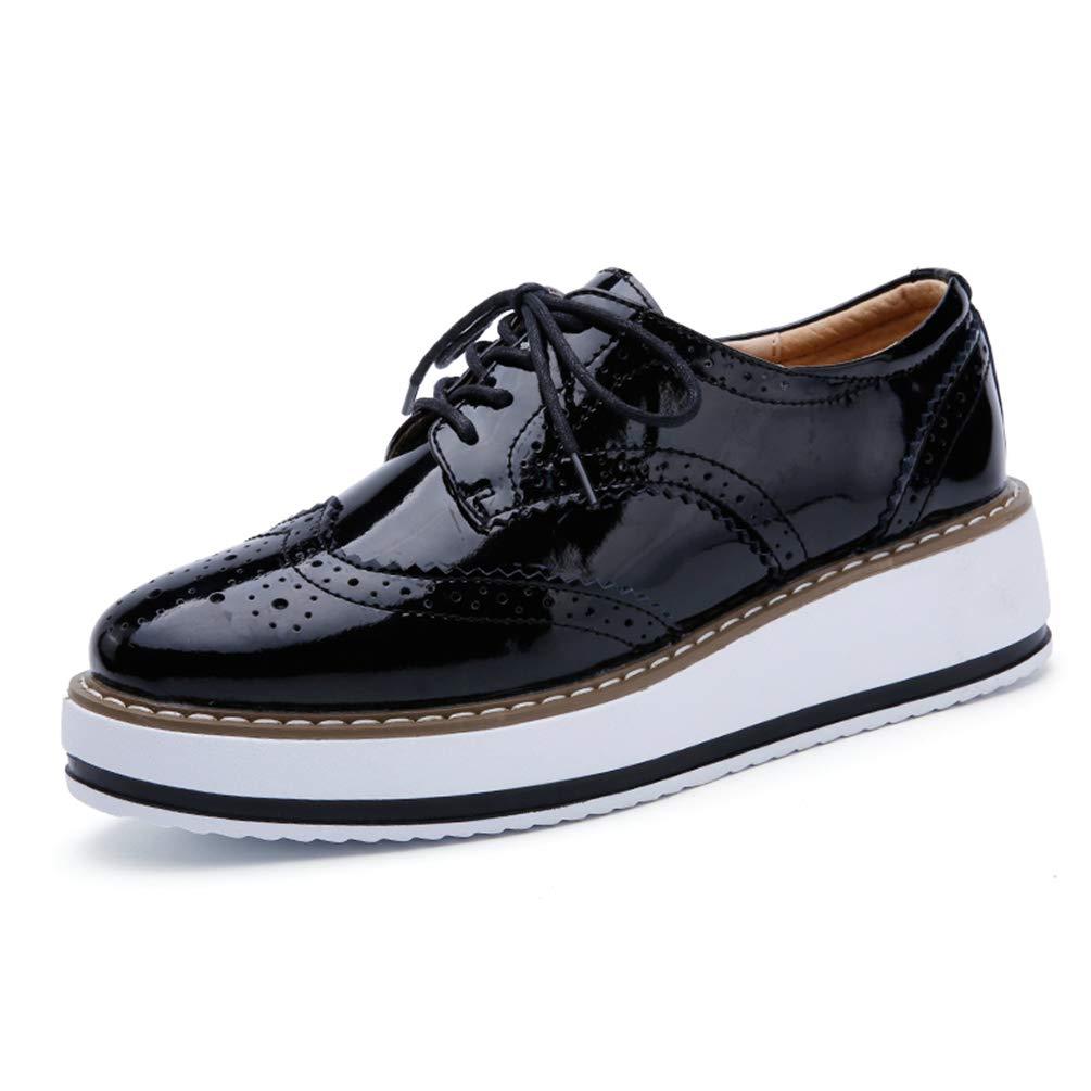 Mujeres Plataforma Zapatos Mujer Cuero Pisos Encaje hasta Calzado Mujer Plana Oxford Zapatos para