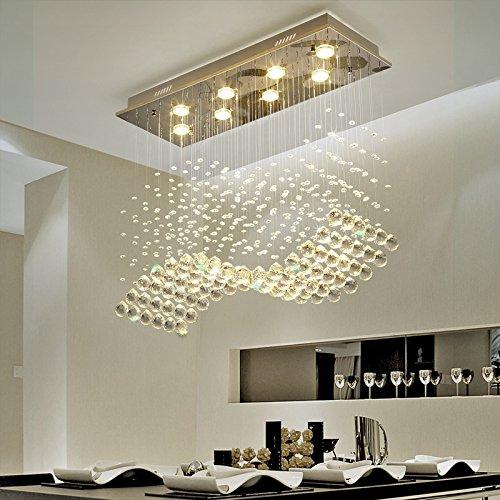 Moooni Modern Crystal Chandelier Lighting Wave Dining Room Ceiling Light Fixture L31.5