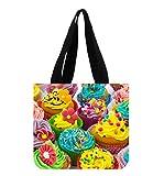 Colorful Cupcake Custom Beautiful Canvas Tote Bag Art Print Twin Sides
