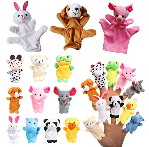 Kids Velvet Cute Animal Finger Puppets Hands Puppets for Kids Toddlers Baby Story Telling Soft Dolls Props Toys Party Favor Mini Plush Figures Toy Soft Hands Finger Puppets for Girls Boys