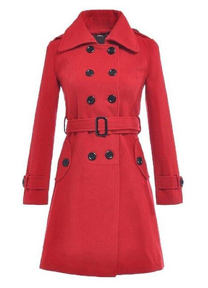 Women's Autumn Winter Double-Breasted Long Woolen Coat with Belt